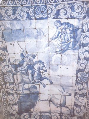 Azulejos da lenda de Nazaré, Capela da Memoria, Nazaré, Portugal