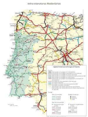 Mapa carreteras de Portugal