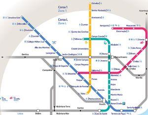 Mapa metro Lisboa, Portugal