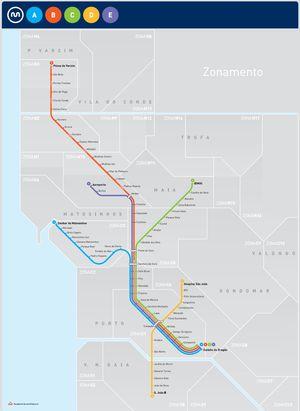 Mapa metro Oporto, Portugal